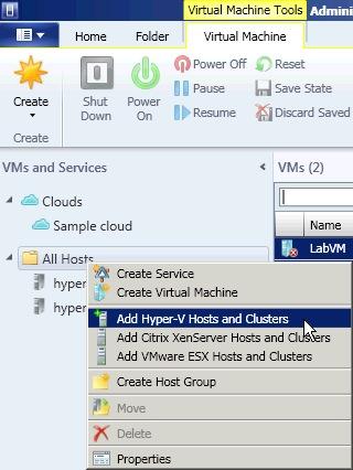 Add a new Hyper-V host to SCVMM 2012