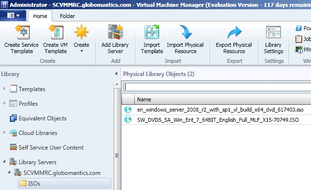 Import an ISO image into a VMM 2012 library